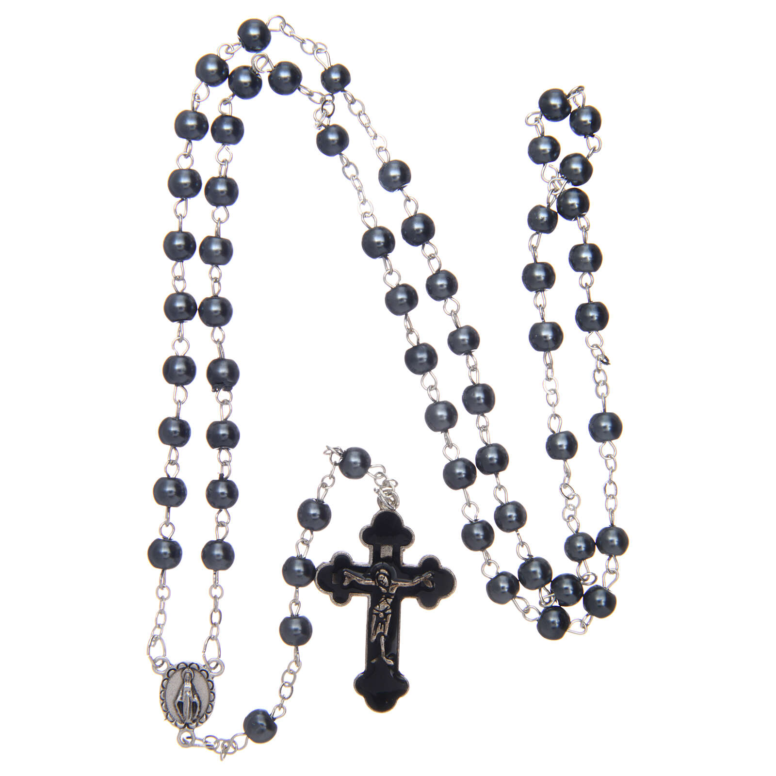 Imitation pearl rosary round hematite color beads 5 mm enamelled cross 4