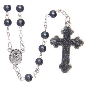 Imitation pearl rosary round hematite color beads 5 mm enamelled cross s2