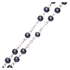 Imitation pearl rosary round hematite color beads 5 mm enamelled cross s3