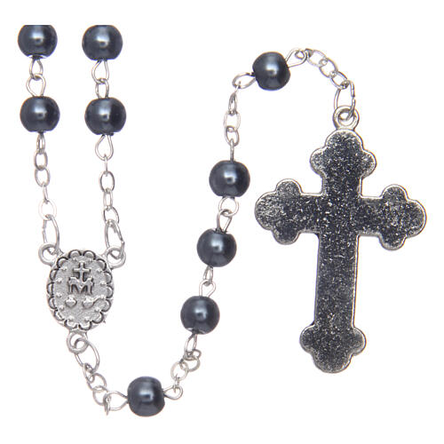 Imitation pearl rosary round hematite color beads 5 mm enamelled cross 2