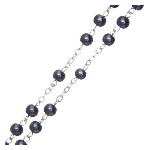 Imitation pearl rosary round hematite color beads 5 mm enamelled cross 3