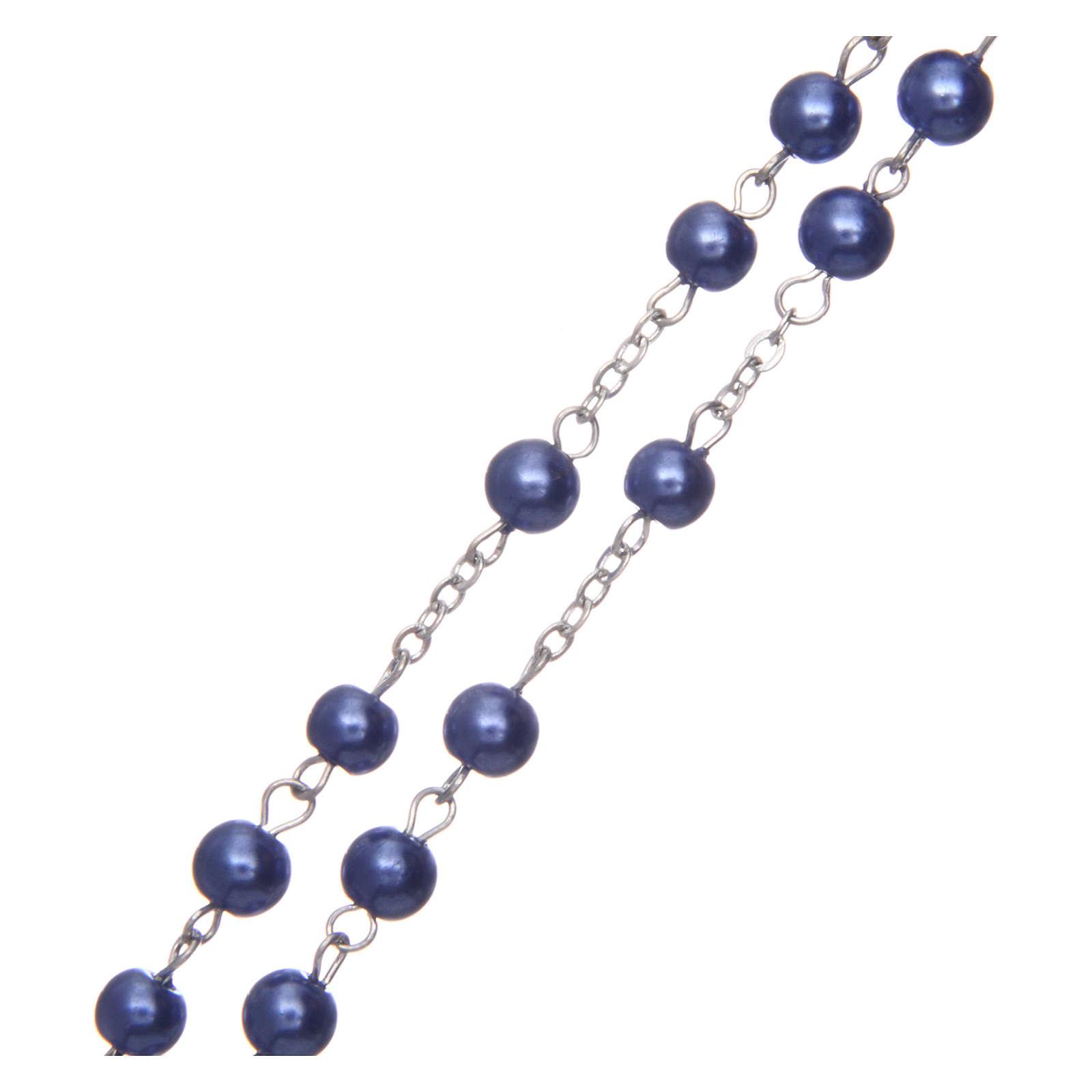 Rosario simil perla redondo violeta 5 mm cruz esmaltada 4