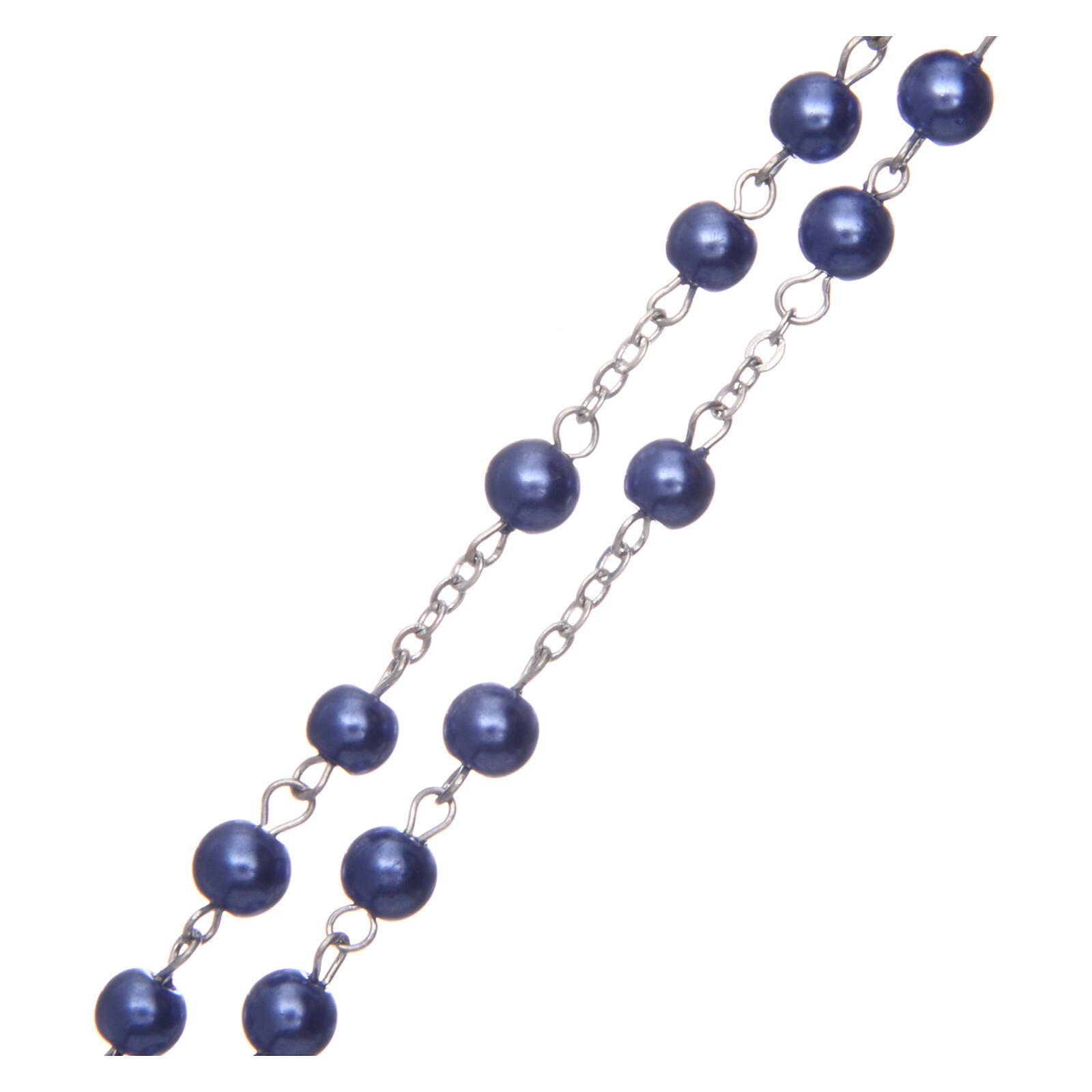 Imitation pearl rosary round violet beads 5 mm enamelled cross 4