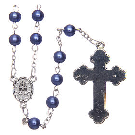 Imitation pearl rosary round violet beads 5 mm enamelled cross s2
