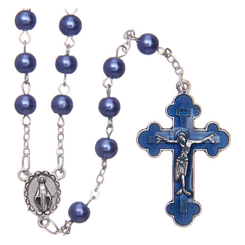 Imitation pearl rosary round violet beads 5 mm enamelled cross 1