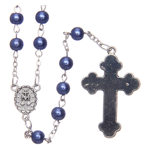 Imitation pearl rosary round violet beads 5 mm enamelled cross 2
