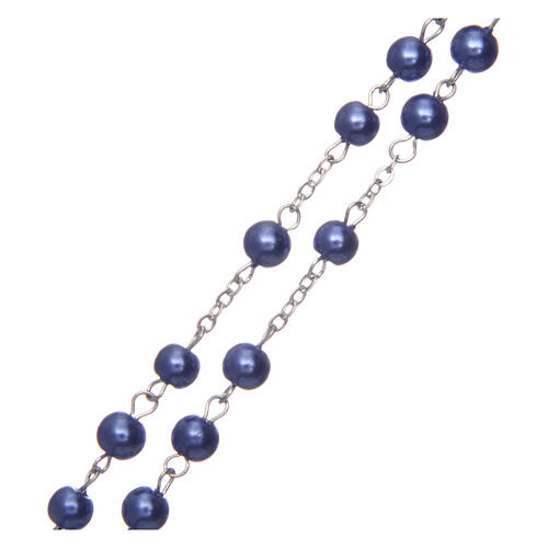 Imitation pearl rosary round violet beads 5 mm enamelled cross 3