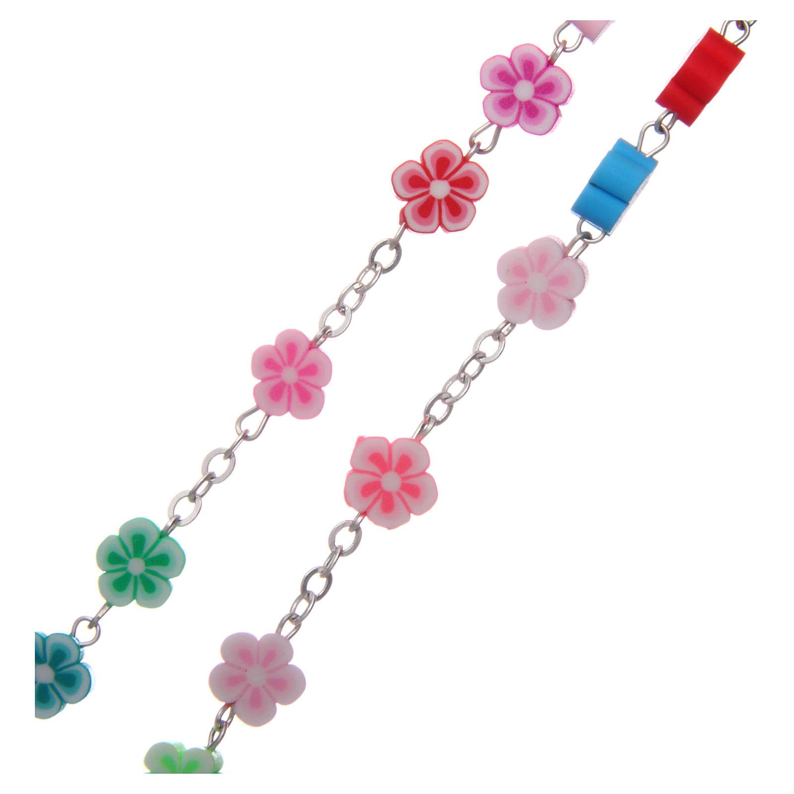 Rosario plastica grani fiore multicolore 9 mm 4