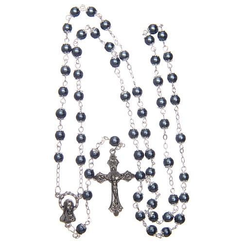Rosario simil perla amatista plateada redondo 5 mm con chavetas 4
