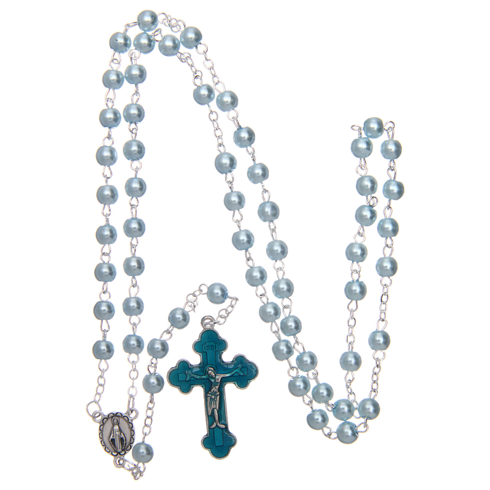 Imitation pearl rosary round light blue beads 5 mm 4