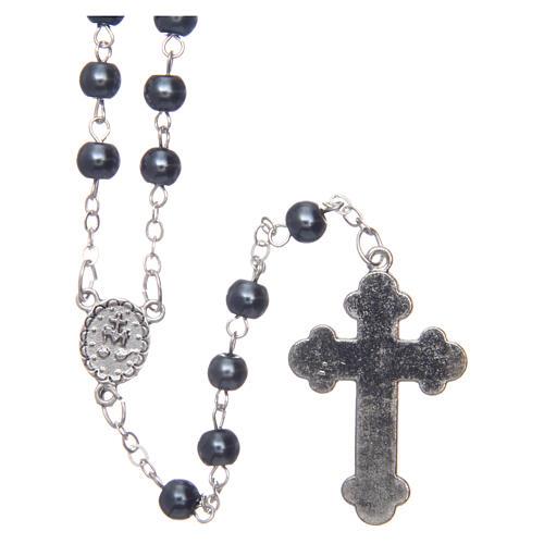 Imitation pearl rosary round grey beads 5 mm 2