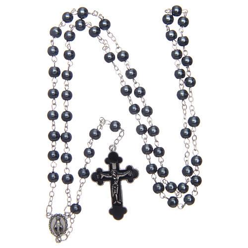 Imitation pearl rosary round grey beads 5 mm 4