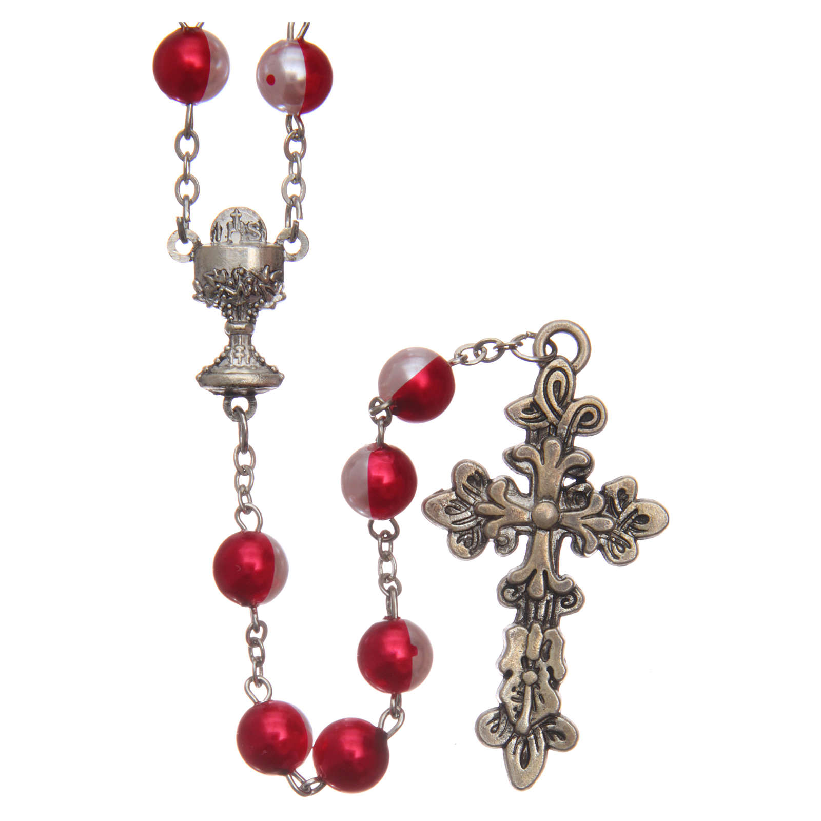 Round two-tone plastic rosary 8 mm 4