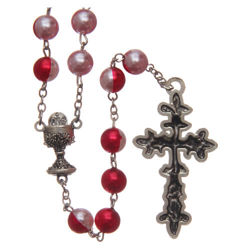 Round two-tone plastic rosary 8 mm 2