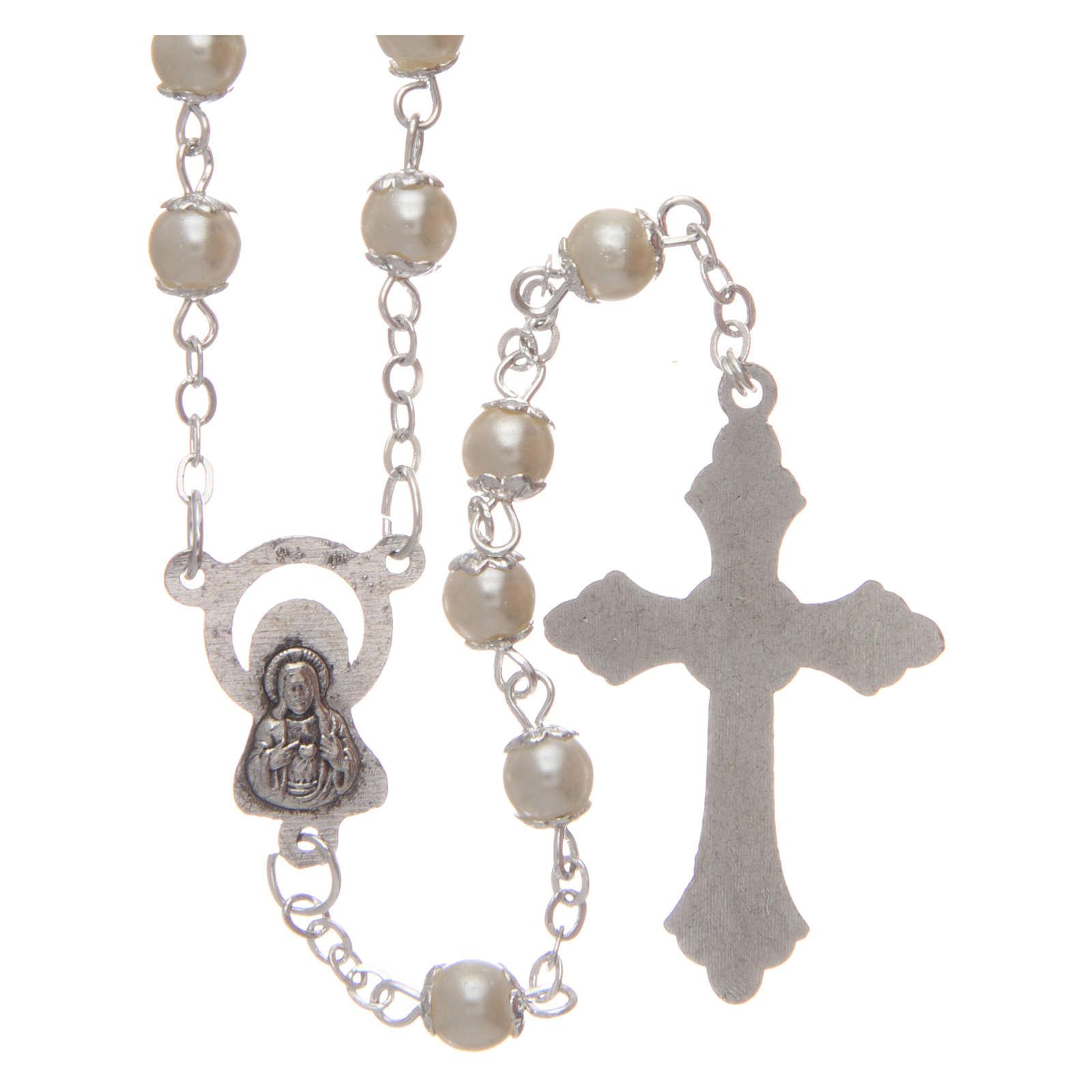 Rosario imitazione perla 5 mm con coppiglie 4