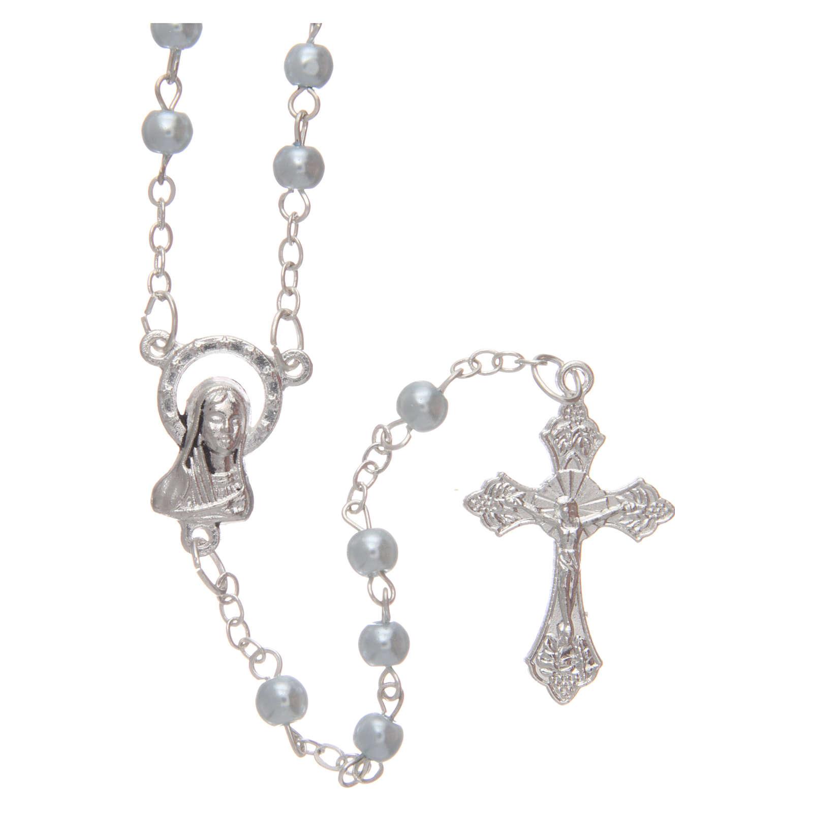 Blue semi-pearl rosary 4 mm 4