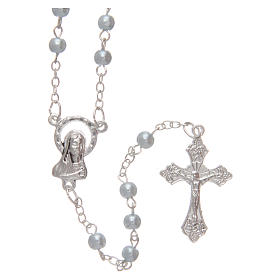 Imitation pearl rosaries: Blue semi-pearl rosary 4 mm