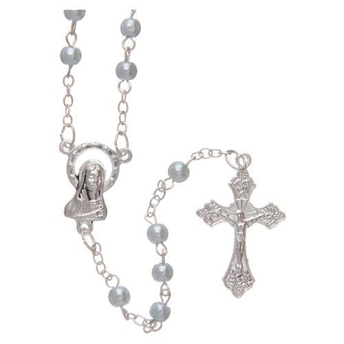 Blue semi-pearl rosary 4 mm 1