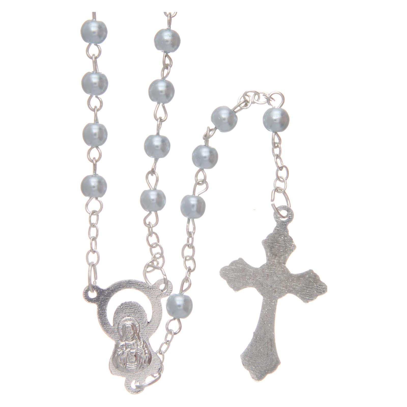 Rosario imitación perla redonda 4 mm azul 4