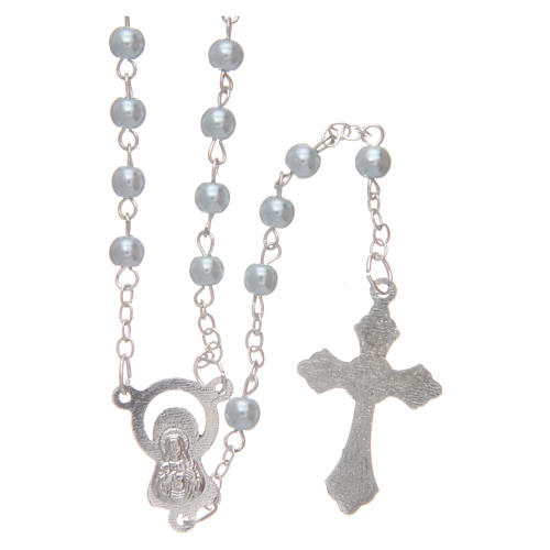 Rosario imitación perla redonda 4 mm azul 2