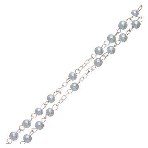 Rosario imitación perla redonda 4 mm azul 3