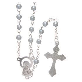 Rosario imitazione perla tonda 4 mm azzurro s2
