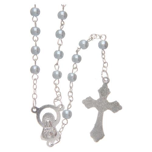 Rosario imitazione perla tonda 4 mm azzurro 2