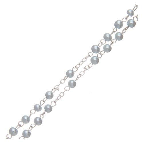 Rosario imitazione perla tonda 4 mm azzurro 3