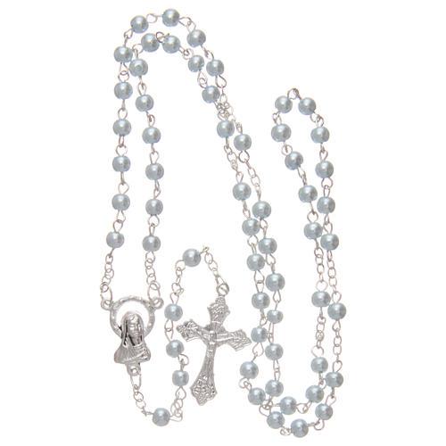 Rosario imitazione perla tonda 4 mm azzurro 4