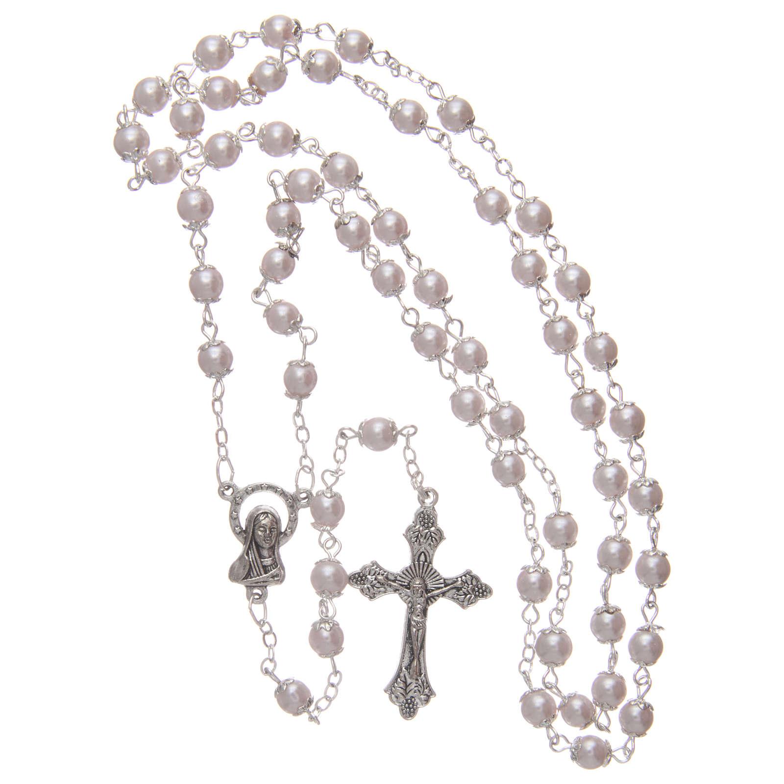Rosario imitación perla rosa 5 mm con chavetas 4