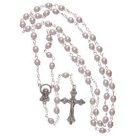 Rosario imitación perla rosa 5 mm con chavetas s4