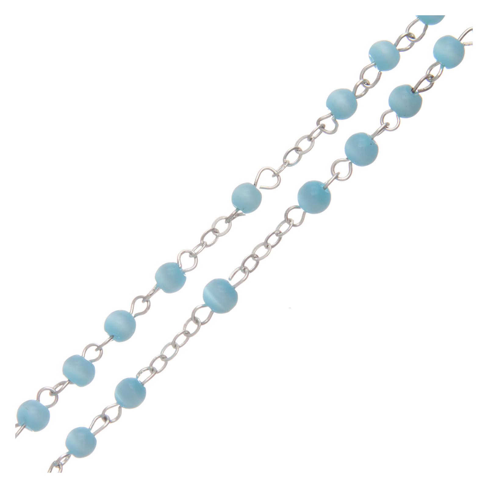 Aquamarine semi-pearl rosary 4 mm 4