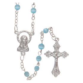 Imitation pearl rosaries: Aquamarine semi-pearl rosary 4 mm