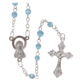 Aquamarine semi-pearl rosary 4 mm s2