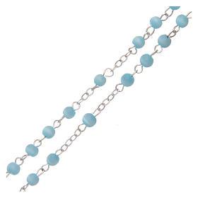Aquamarine semi-pearl rosary 4 mm s3