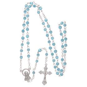 Aquamarine semi-pearl rosary 4 mm s4