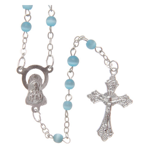 Aquamarine semi-pearl rosary 4 mm 2