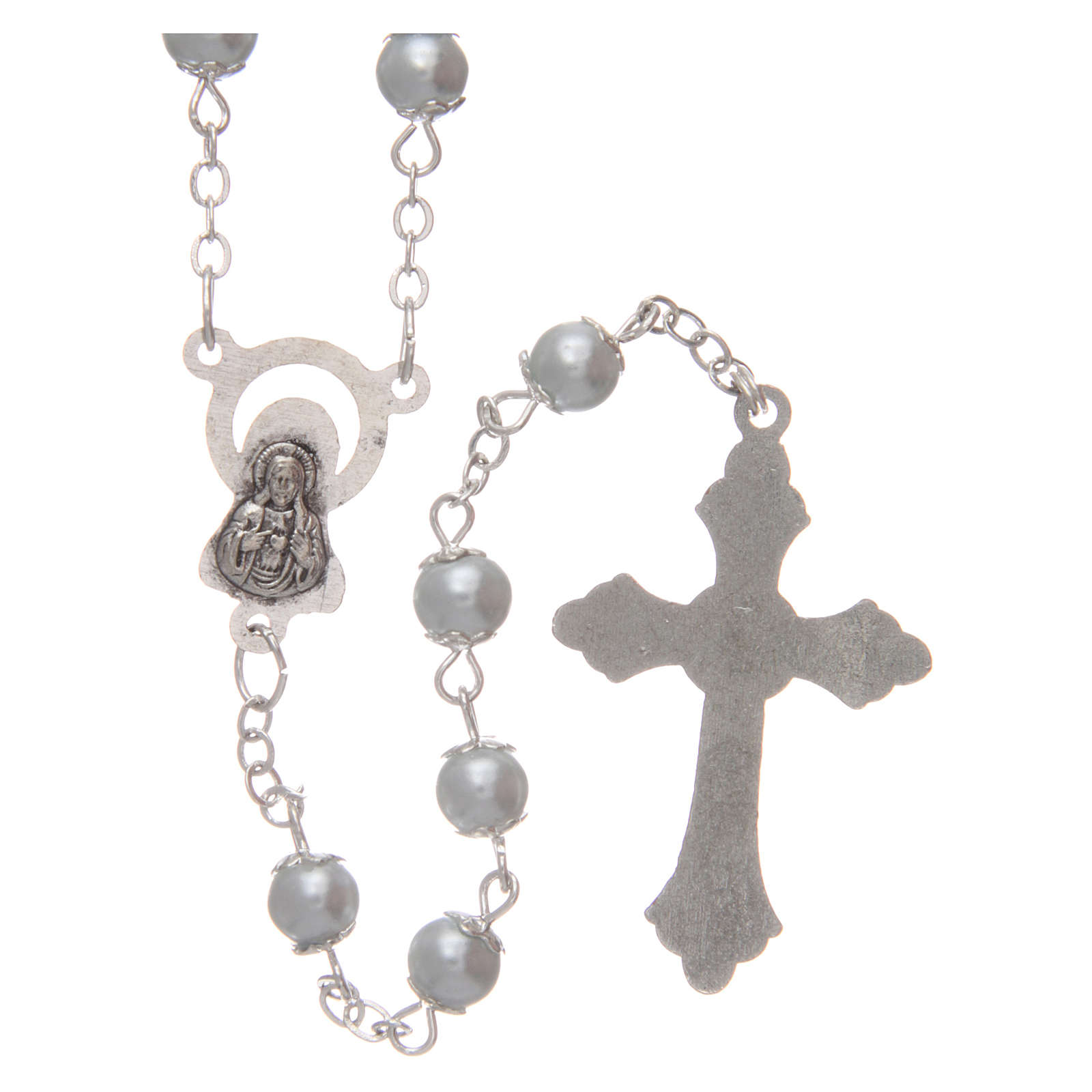 White semi-pearl rosary 5 mm with cotters 4