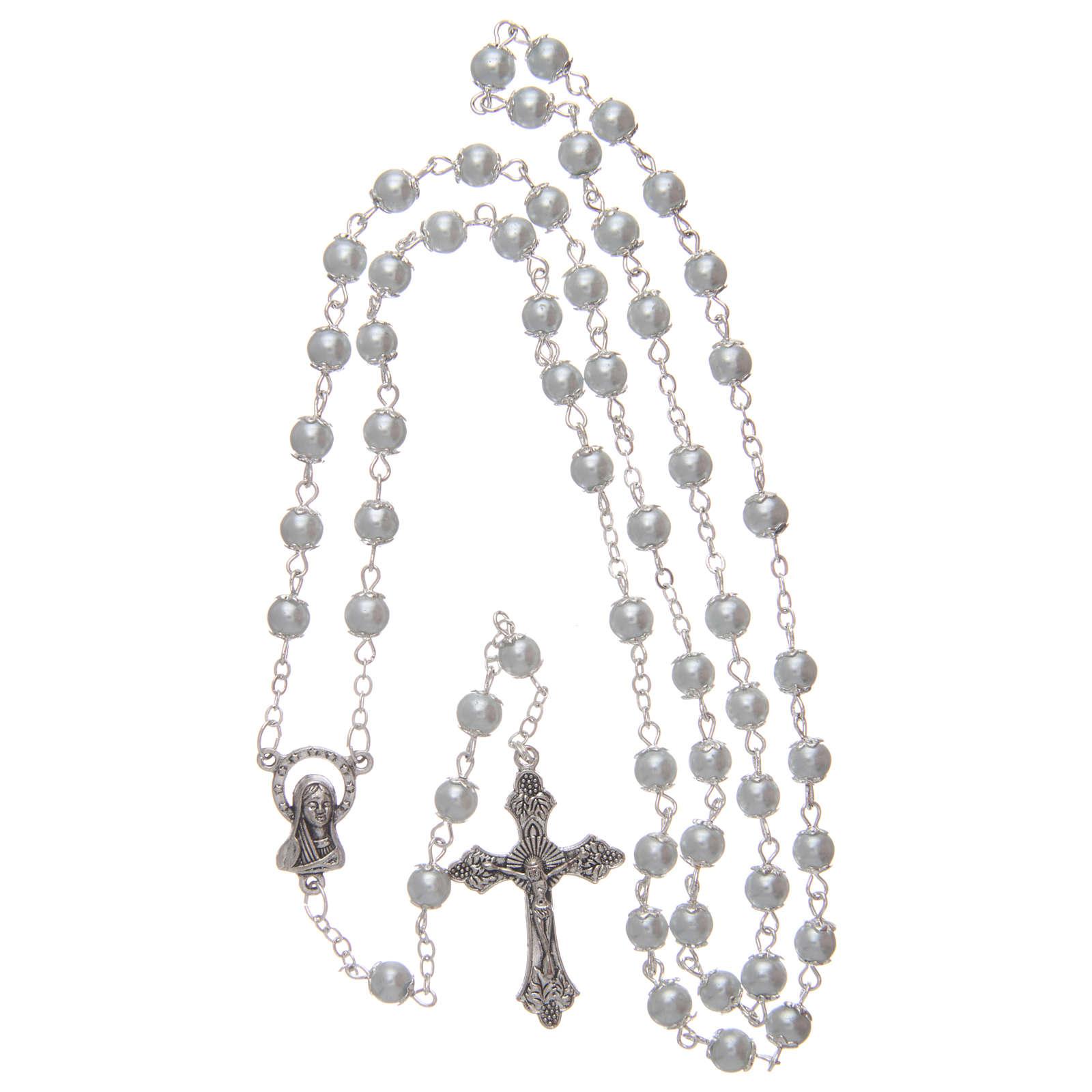 Rosario imitación perla blanco 5 mm con chavetas 4
