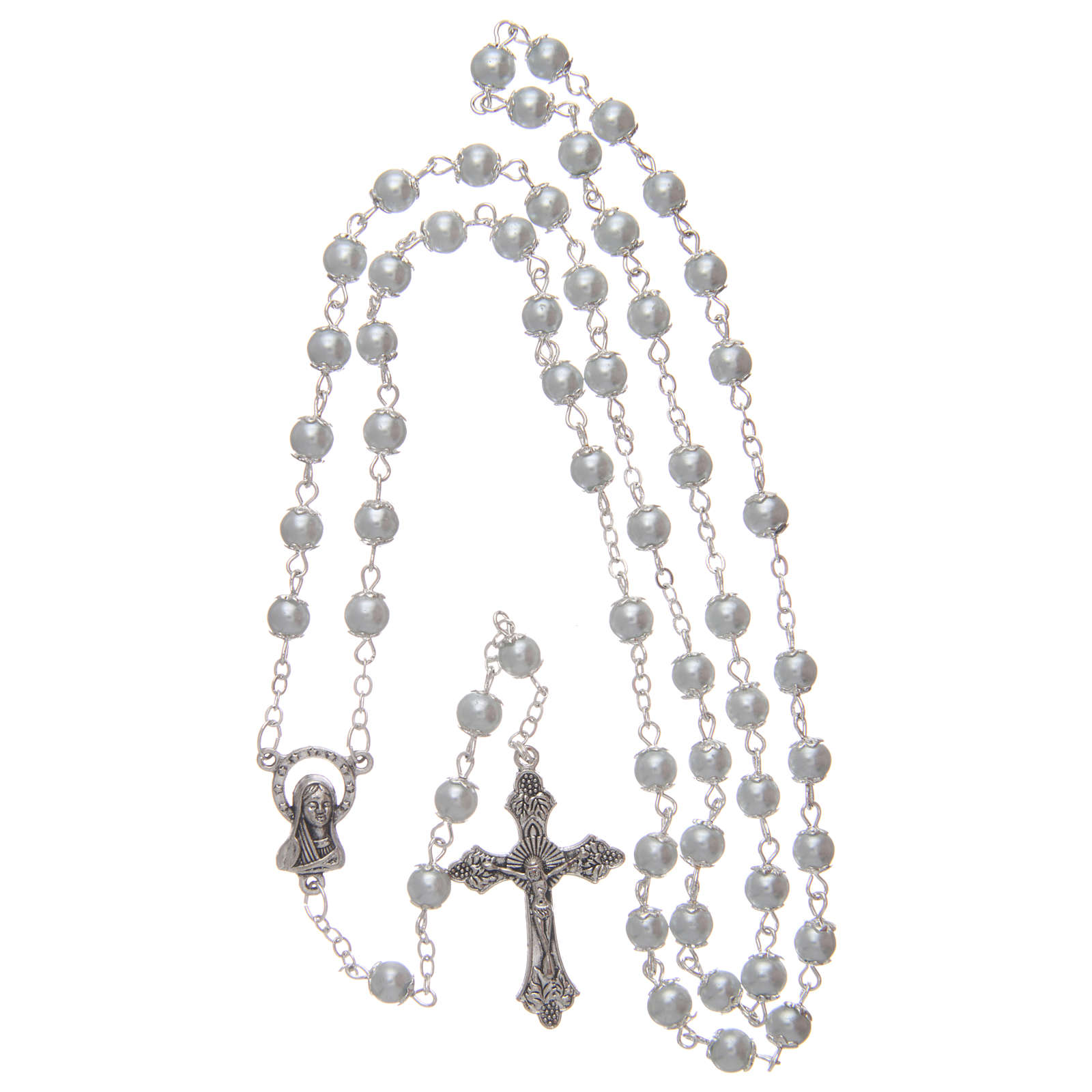 Rosario imitazione perla bianco 5 mm con coppiglie 4