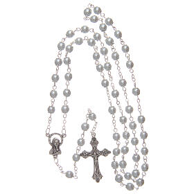 Imitation pearl rosary white beads 5 mm with caps s4