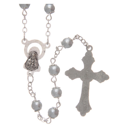 Imitation pearl rosary white beads 5 mm with caps 2