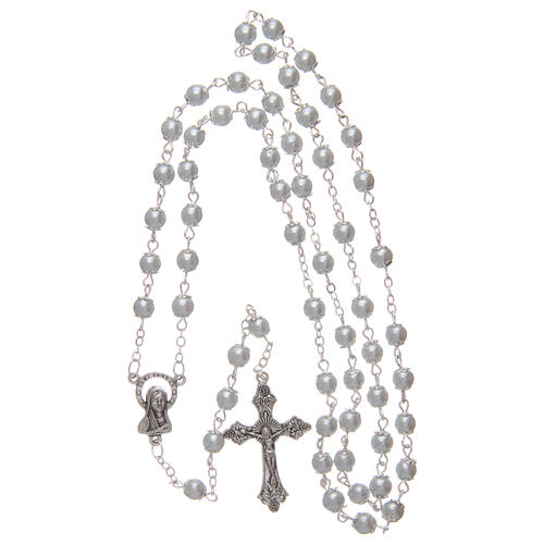 Imitation pearl rosary white beads 5 mm with caps 4