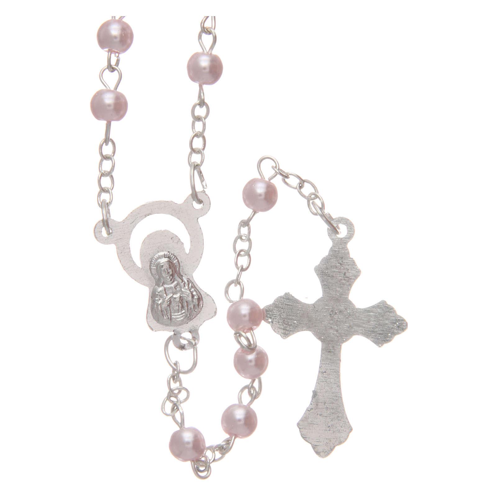 Rosario imitación perla color rosa 4 mm 4