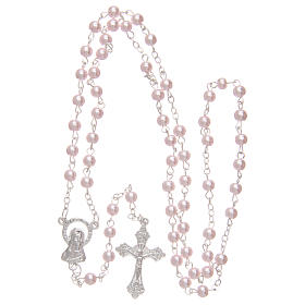 Rosario imitación perla color rosa 4 mm s4