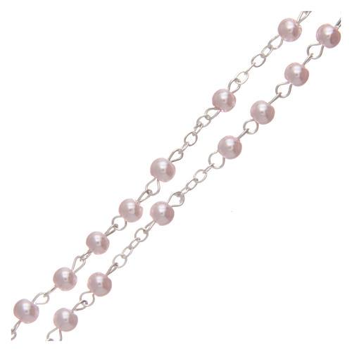 Rosario imitación perla color rosa 4 mm 3