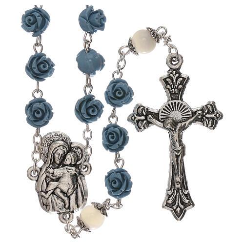 Rosario rosas Virgen con niño resina celeste 5 mm 1