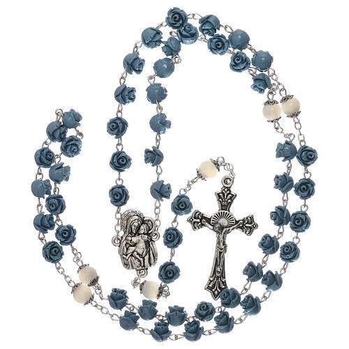 Rosario rosas Virgen con niño resina celeste 5 mm 4