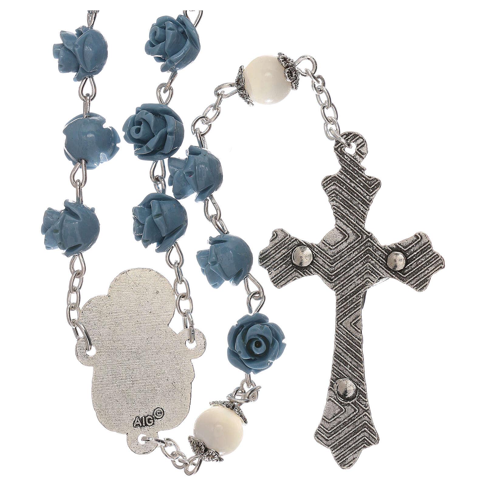 Rosario rose Madonna con bambino resina celeste 5 mm 4