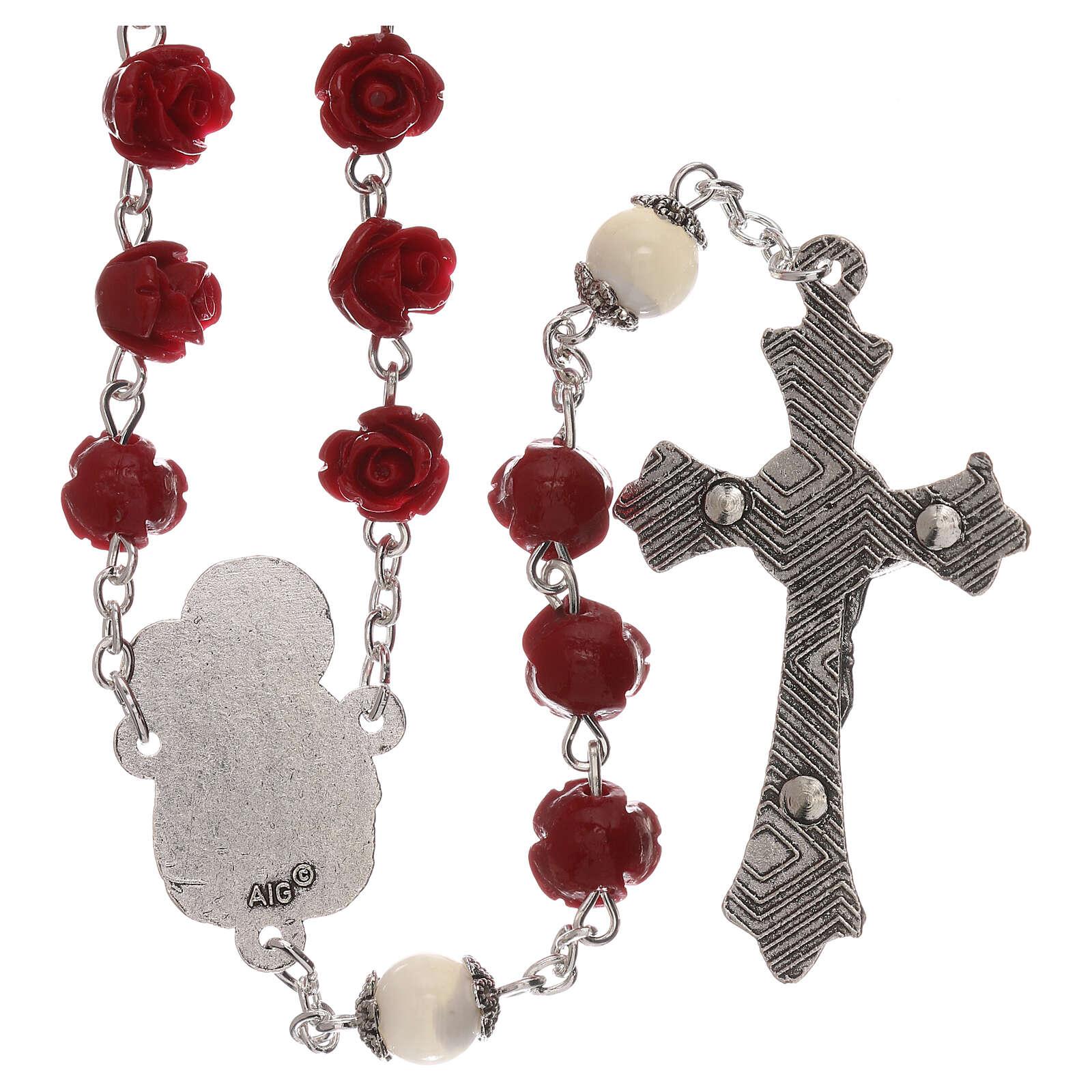 Rosario con granos rosas Virgen con niño resina rojo 5 mm 4